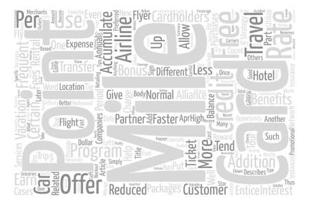 Miles Credit Cards Strategies to Accumulate Miles Word Cloud Concept Text Background