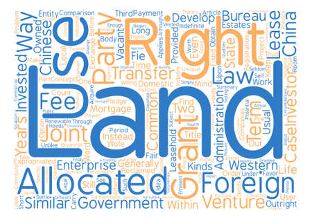 Land Use Rights For Foreign Investors In China Word Cloud Concept Text Background