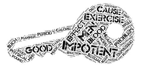 impotence: Impotence and Exercise Link text background word cloud concept Illustration