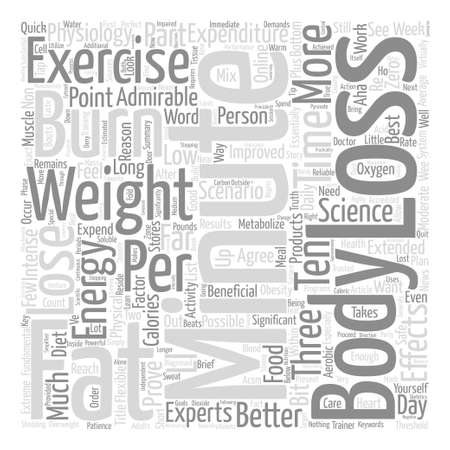Minute Weight Loss Exercise Proves Most Effective text background word cloud concept Ilustração