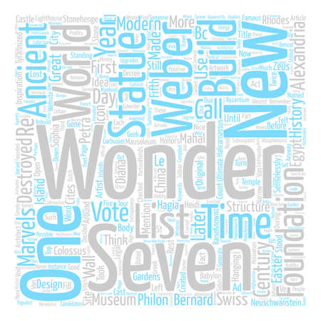 Modern Wonders text background word cloud concept Ilustrace