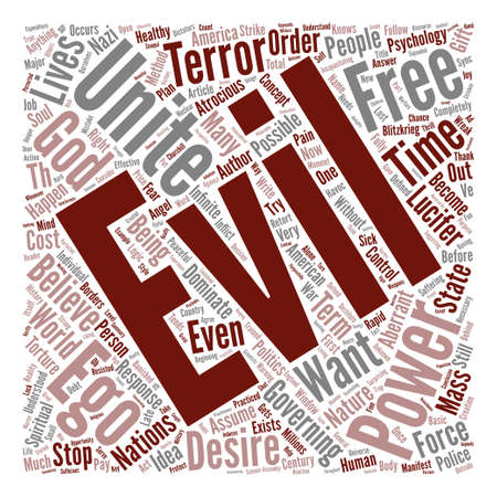 compel: On the Nature of Evil Word Cloud Concept Text Background Illustration