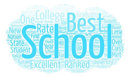 Een blik op Excellent Colleges tekst achtergrond wordcloud begrip