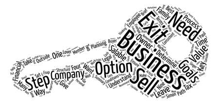 paul: Nine Ways to Exit Your Company text background word cloud concept