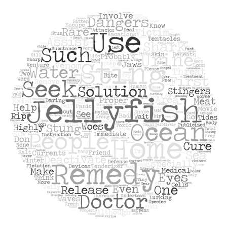 Myths About Home Remedies For Jellyfish Stings text background word cloud concept 向量圖像