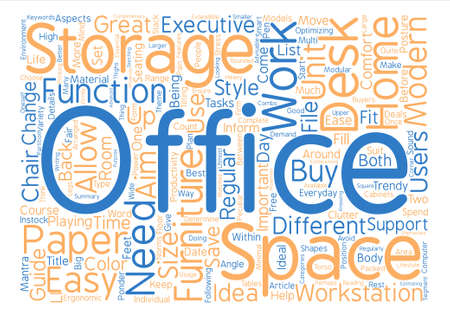 Office Furniture Buyers Guide Word Cloud Concept Text Background