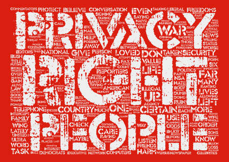 Privacy Versus Security text background word cloud concept Illustration