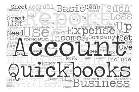 Quickbooks Tips text background wordcloud concept Çizim