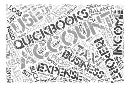 Quickbooks 팁 텍스트 배경 단어 구름 개념 일러스트
