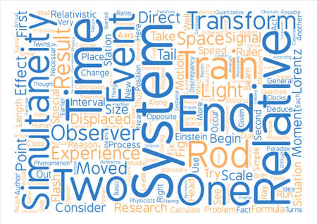 Relativity of Simultaneity Versus Other Relativistic Effects Word Cloud Concept Text Background