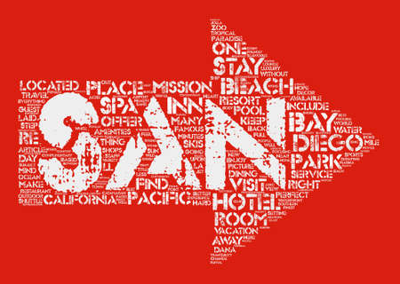 laid: San Diego Beach Hotels text background wordcloud concept