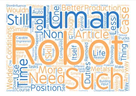 Robot text background word cloud concept