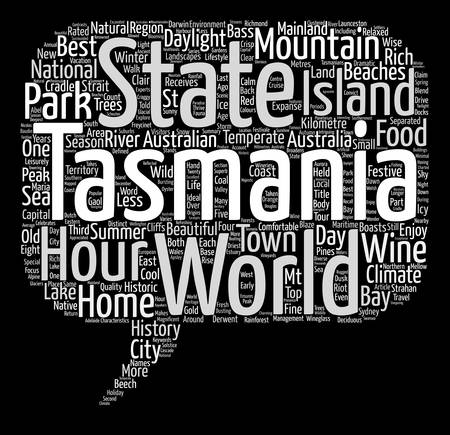 kilometre: Tasmania The Australian Island State text background word cloud concept