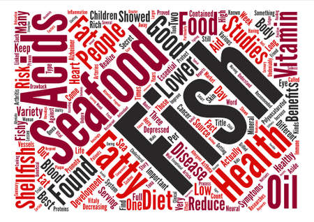 Seafood has some vitaly important health benefits text background word cloud concept