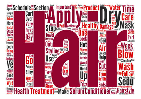 Simple Steps to Healthy Treatment of Your Hair Word Cloud Concept Text Background Ilustração