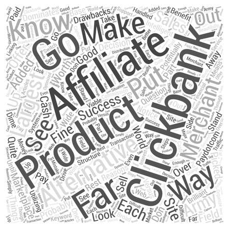 Alternatives to Clickbank Word Cloud Concept Ilustração