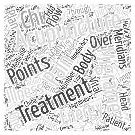 L'agopuntura per l'emicrania nuvola concetto di parola
