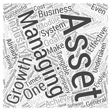 Achieving successful asset management growth word cloud concept