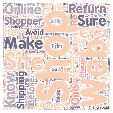 Are YOU a savvy online shopper text background wordcloud concept Illustration
