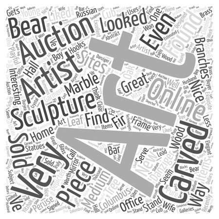 peruse: Art auctions for sculptures Word Cloud Concept Illustration