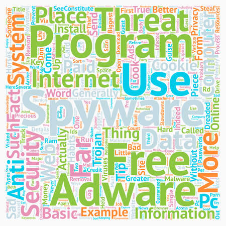 Basic spyware tips text background wordcloud concept Illustration