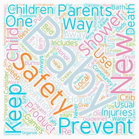 Baby Safety Showers Not Just Fun and Games text background wordcloud concept