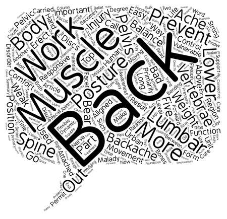 malady: Backache is a disorder that is easy to prevent text background wordcloud concept Illustration