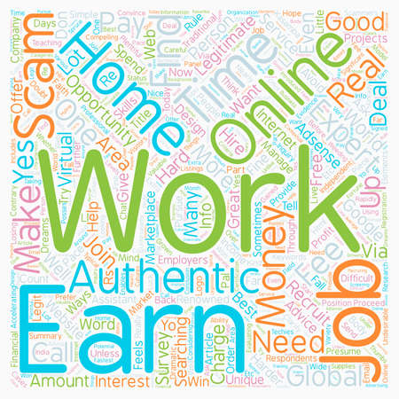Authentic info work online from home to earn money text background wordcloud concept