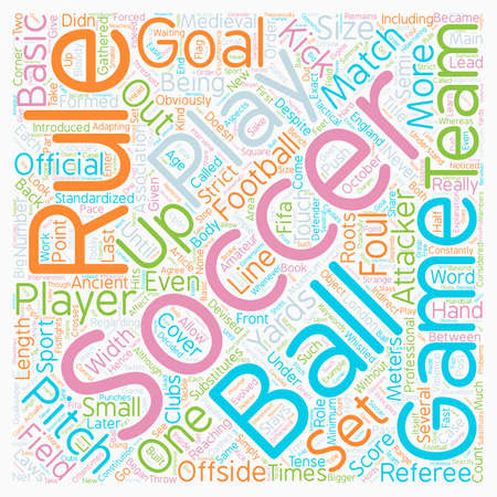 Basic soccer rules text background wordcloud concept Illustration