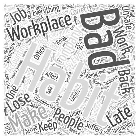 Bad habits in the workplace word cloud concept