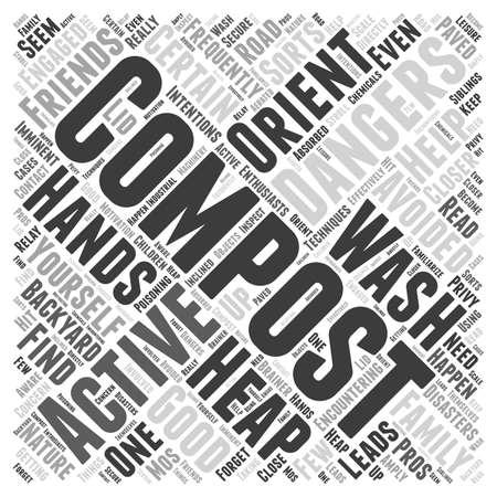 Avoiding composting dangers word cloud concept Illustration