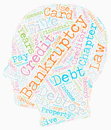 Bankruptcy chapter 13 or chapter 7 text background wordcloud concept