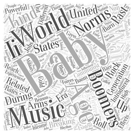 boomers: Baby boomers and breaking age related norms word cloud concept