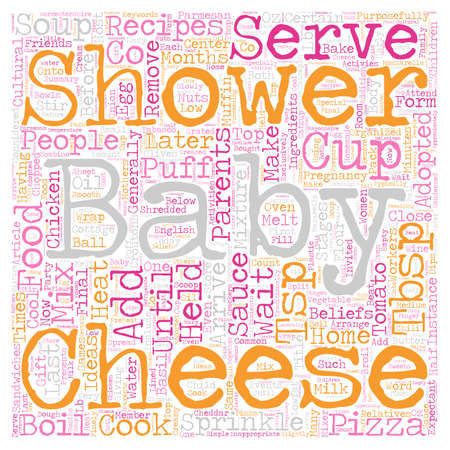 Baby shower recipes food ideas for your shower text background wordcloud concept Illustration