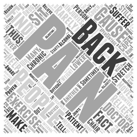 Back pain interventions word cloud concept