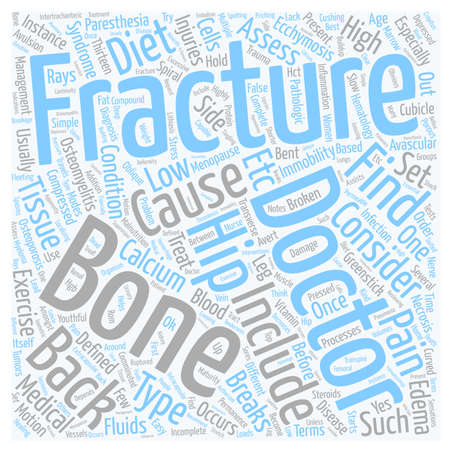 pathologic: Back Pain and Fractures text background wordcloud concept Illustration