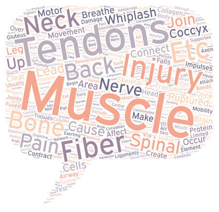Back pain and tendons text background wordcloud concept