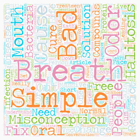 Bad Breath the Cure is as Simple as the Cause text background wordcloud concept Ilustrace