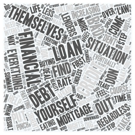 Bad credit mortgage loan a closer look text background wordcloud concept