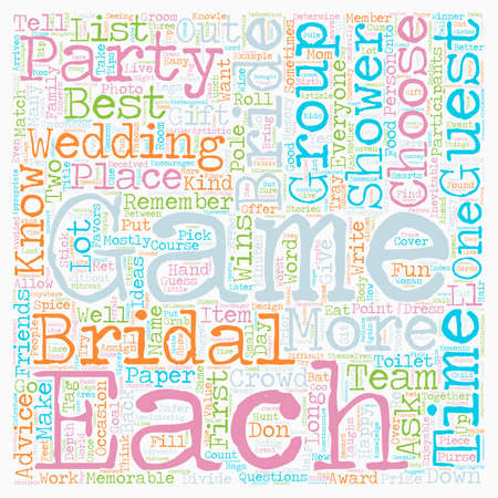 Bridal Showers match The Game To The Crowd text background wordcloud concept Çizim
