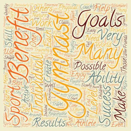 developmental: Benefits of Gymnastics 1 text background wordcloud concept Illustration
