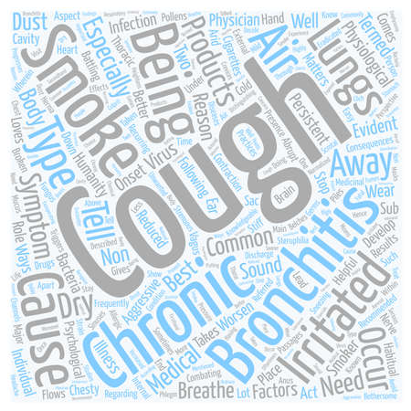 bronchitis chronic cough symptom text background wordcloud concept Illustration