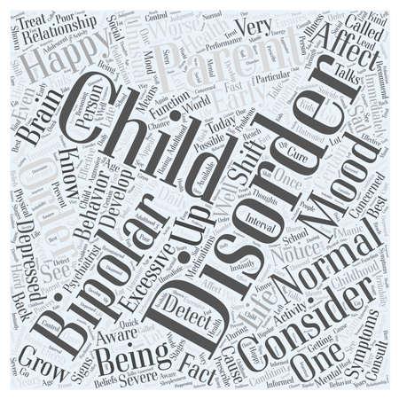 bipolar disorder child Word Cloud Concept Illustration