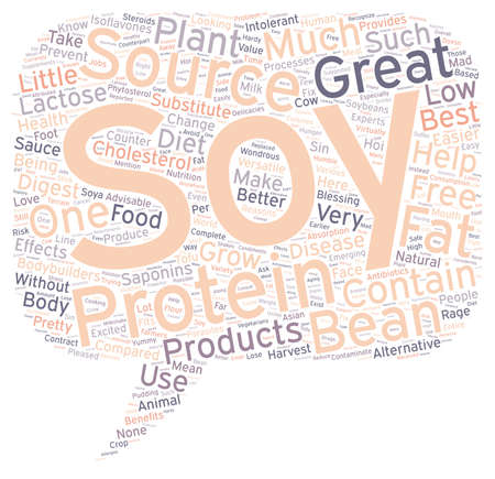 benefits of soy protein text background wordcloud concept
