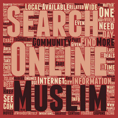 absorbed: Best deals with the Muslim online community text background wordcloud concept Illustration