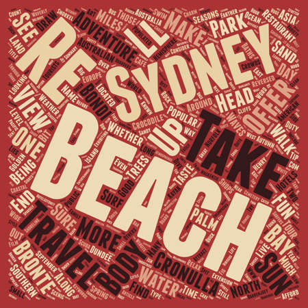 Beaches for Fun in the Sun text background wordcloud concept Illustration