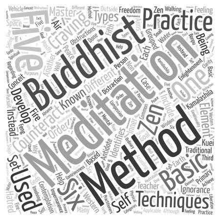 buddhist meditation techniques Word Cloud Concept Ilustração