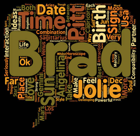 Brad Pitt Angelina Jolie love Horoscopes Report text background wordcloud concept  イラスト・ベクター素材