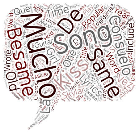 Besame Mucho Guitar Chords And Lyrics text background wordcloud concept