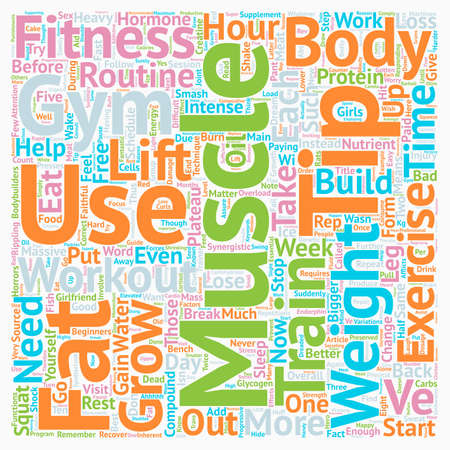 Build Muscles And Smash Plateau For Beginners text background wordcloud concept Ilustração